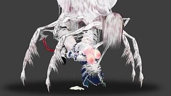 Симпатичная чернокожая шлюха лобызает белоснежный член перед трахом в обе дырочки